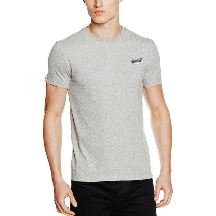 美國百分百【Superdry】極度乾燥 T恤 上衣 T-shirt 短袖 短T 經典 淺麻灰 logo 素面 S M號 F235