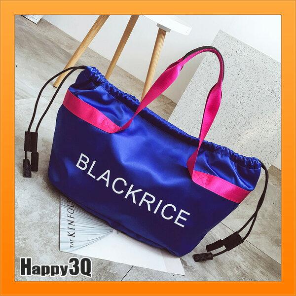 手提包斜背包健身包旅行包束口袋大容量隨身包-藍黑紅湖藍【AAA4581】