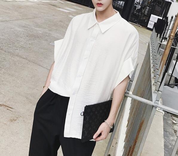 FINDSENSE Z1 韓國 時尚 潮 男 大尺碼 寬鬆感 純色素面 短袖襯衫 五分袖襯衫 素面襯衫