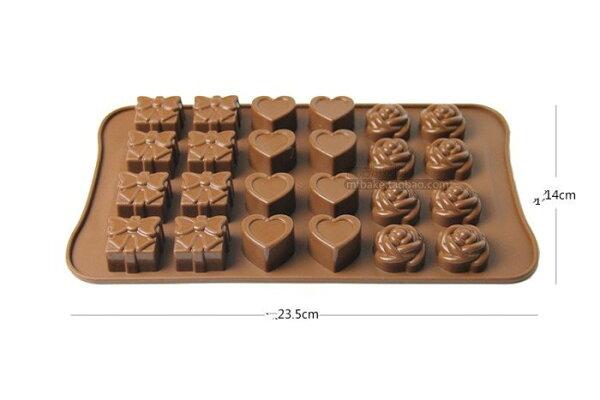 =優生活=24格玫瑰花 愛心 禮物巧克力模具 布丁果凍 冰格 家庭烘焙工具DIY 製冰模具