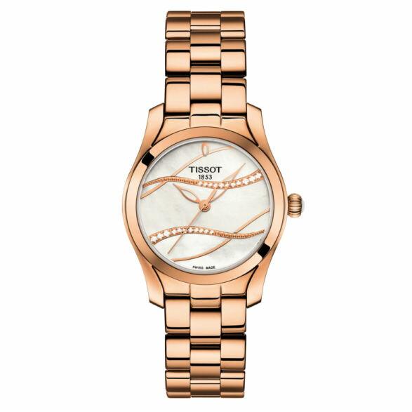 TISSOT天梭T1122103311100T-Wave系列波浪鑽石姿態時尚腕錶-皮帶款玫瑰金30mm