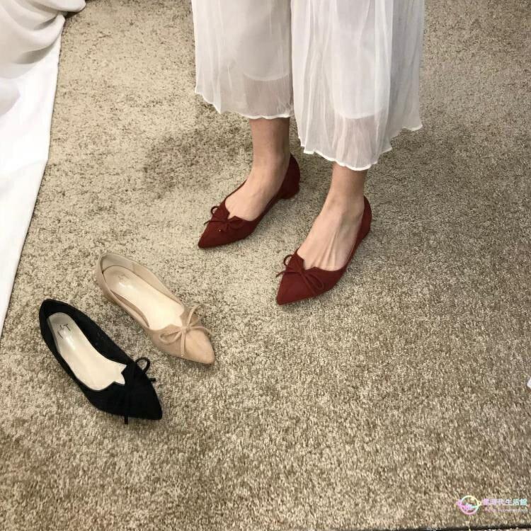 涼鞋復古絨面粗跟單鞋蝴蝶結中跟淺口簡約氣質低幫女鞋OL仙女鞋創時代3C 交換禮物 送禮