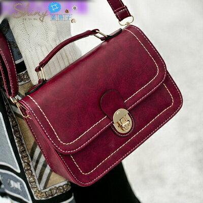 【P033】shiny藍格子-輕甜學院-夏季新款複古小包郵差包手提單肩包斜挎包