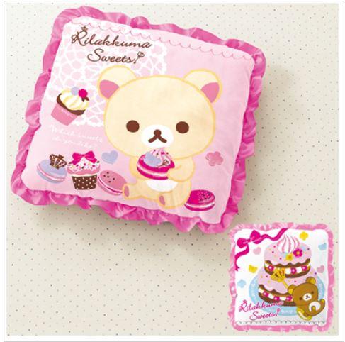 X射線【C002662】懶熊方形抱枕景品(白底粉邊.蛋糕),絨毛/填充玩偶/玩具/公仔/椅子/抱枕/靠枕/頸枕/靠墊/拉拉熊