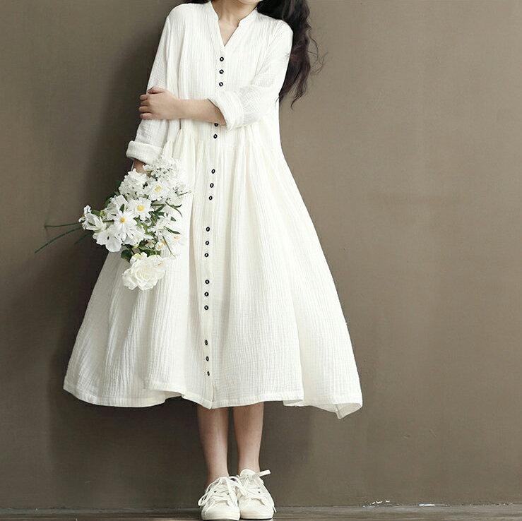 《全店399免運》中大尺碼 [愛麗絲] 百搭兩用長版棉麻洋裝/外套(2色,M-XL) - 御聖願