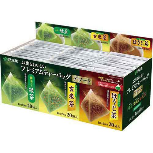 日本伊藤園綜合三角立體茶包 綠茶/玄米茶/烘焙茶 各20包,共60包