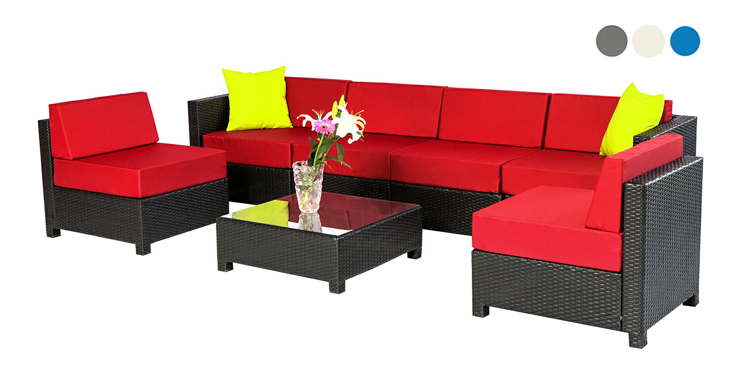 Mcombo 7 pc outdoor garden patio wicker rattan furniture sectional aluminum frame sofa burgundy 0