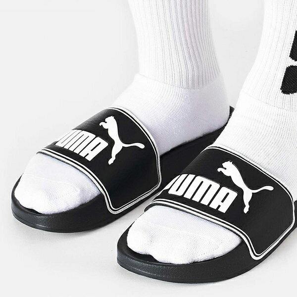Shoestw【360263-01】PUMA LEADCAT 拖鞋 運動拖鞋 基本款 黑色 白邊 大LOGO 男生尺寸 0