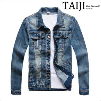 牛仔外套‧胸前口袋手臂貼章刷白牛仔外套‧一色【ND90016】-TAIJI-