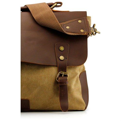 Men's Vintage Canvas Leather Satchel School Military Messenger Shoulder Bag Travel Bag - Khaki 1