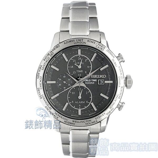 【錶飾精品】SEIKO手錶精工表SPL049P1黑立體刻紋錶盤超強多功能鬧鈴世界時間男錶全新原廠正品