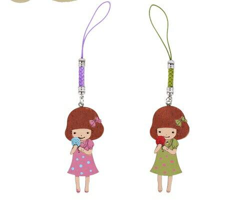兔女孩木頭吊飾-可愛娃-靜娃篇 手機吊飾 鑰匙圈吊飾 鄉村風 防塵塞