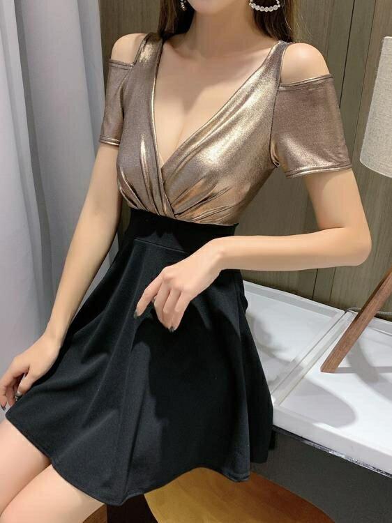 性感洋裝 有女人味的夜店新款連身裙秋季女裝酒吧低胸V領修身顯瘦短裙【快速出貨】