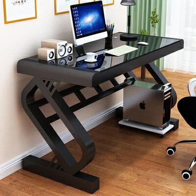 電腦桌台式家用帶鍵盤托辦公桌臥室簡約書桌鋼化玻璃寫字桌經濟型GZ20【全館免運 限時鉅惠】
