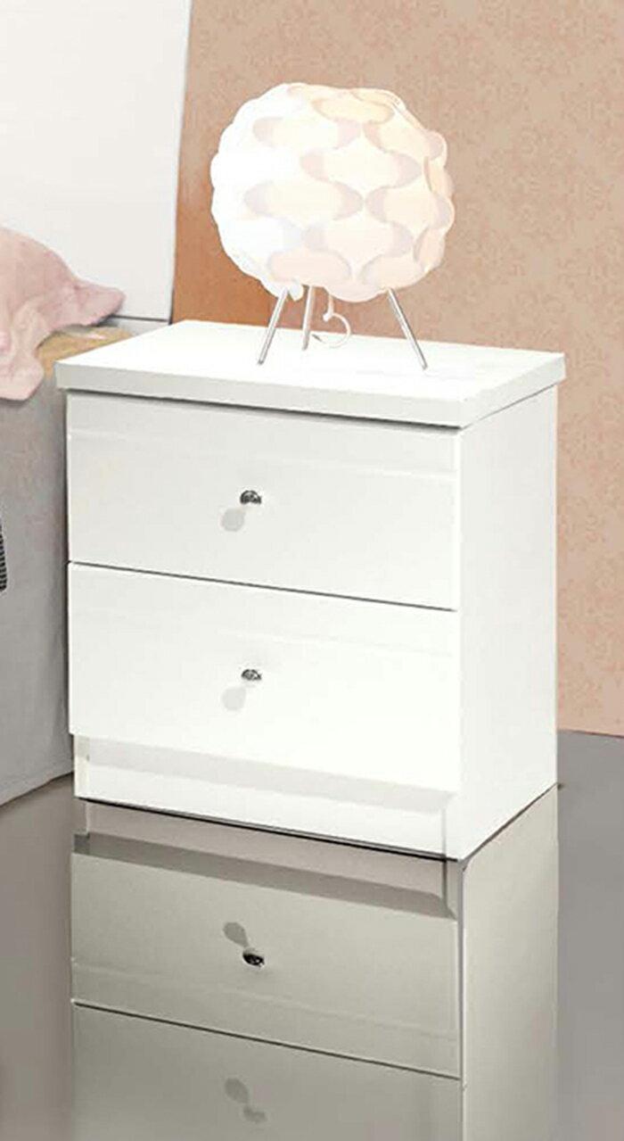 【尚品家具】JF-080-3 克莉絲白色亮烤床頭櫃
