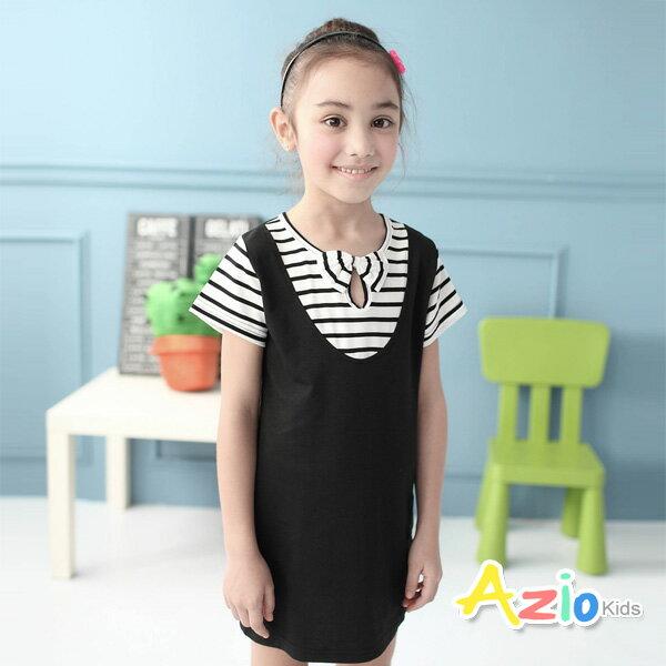 ~Azio Kids 美國派~洋裝 條紋假兩件吊帶裙 黑