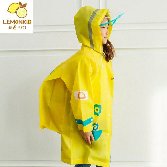 Lemonkid◆可愛機器人卡通新款EVA兒童帶書包位雨衣-黃色