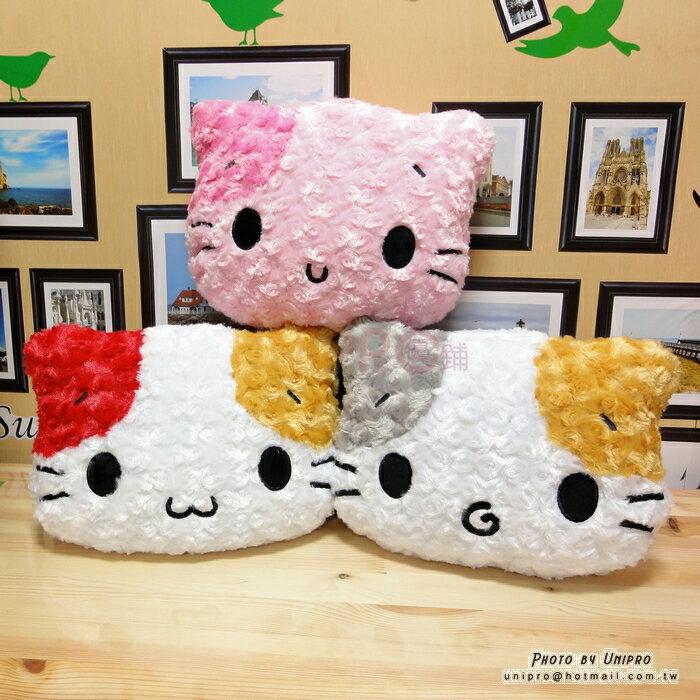 【UNIPRO】 WU GU 貓 玫瑰絨 頭型 抱枕 午安枕 貓咪