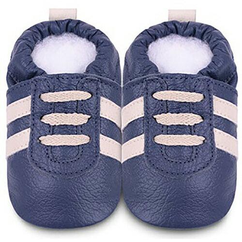 【hella 媽咪寶貝】英國 shooshoos 安全無毒真皮手工鞋/學步鞋/嬰兒鞋_海軍藍/米鞋帶運動型_SNV22 (公司貨)