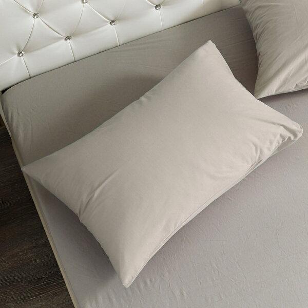 枕套防蹣防水針織枕頭套2入[鴻宇]-灰