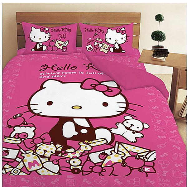 LUST寢具 【Hello Kitty 的遊戲房】床包/枕套/被套、日本卡通授權、台灣製