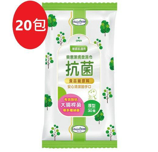 【Baan】貝恩潔膚抗菌柔濕巾-30抽/20包(箱購) (南六代工)