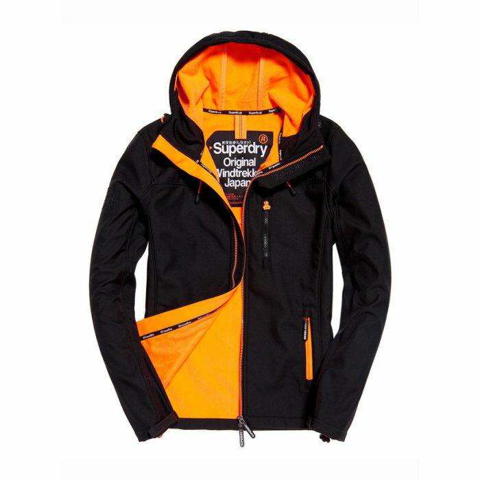 美國百分百【全新真品】Superdry 極度乾燥 風衣 連帽 軟殼 外套 防風 夾克 刷毛 黑色 橘色XS S M H642