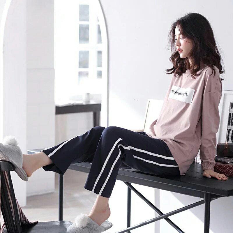 純棉-莫蘭迪粉落肩款居家服套裝(衣+褲) M-XL【漫時光】(D129) 2