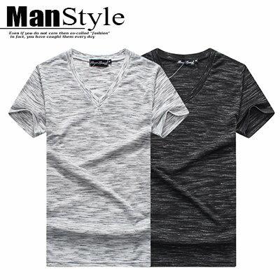 短袖T恤ManStyle潮流 麻花混色V領短袖T恤上衣男裝~01B7569~