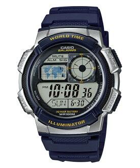 CASIO G-SHOCK AE-1000W-2A經典地圖數位腕錶/藍44mm