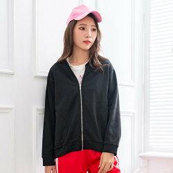 短版外套--簡約時尚立領口袋拼接拉鍊寬鬆修身素色刷毛外(黑.灰XL-4L)-J262眼圈熊中大尺碼