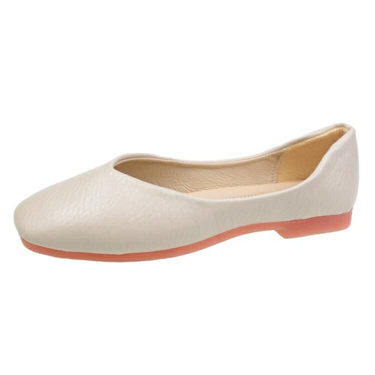 平底鞋 單鞋女平底2021年軟底豆豆夏款女鞋百搭淺口鞋子紅色奶奶鞋春季
