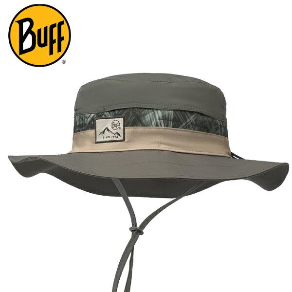 Buff可收納圓盤帽高防曬抗UV遮陽帽軟式摺疊帽健行登山Booney117259綠線大地