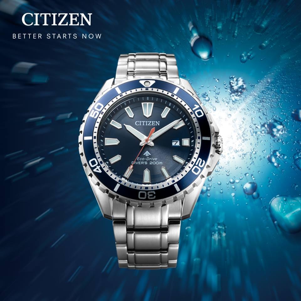 清水鐘錶 Citizen 星辰 Eco-Drive 光動能 熱銷藍水鬼運動腕錶 BN0191-80L 43mm