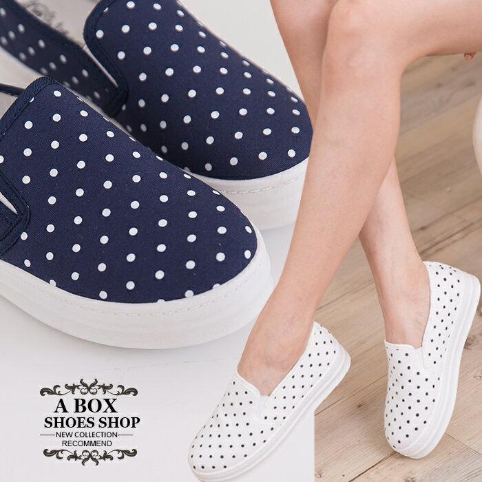 格子舖*【AR1517H】韓版優質 俏皮可愛點點 鬆緊好穿脫 厚底休閒便鞋懶人鞋 樂福鞋 3色 0
