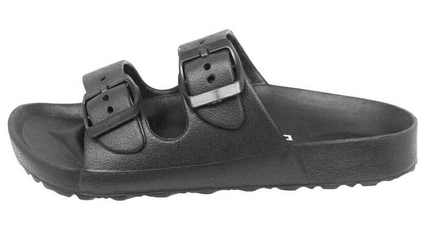 【巷子屋】義大利國寶鞋-DIADORA迪亞多納 女款漾彩時尚雙釦勃肯超輕拖鞋 [3510] 黑 超值價$198