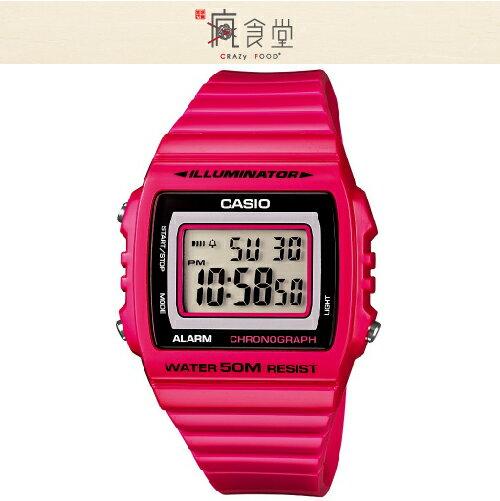 CASIO 卡西歐手錶 大字幕電子錶-桃紅-W-215H-4A
