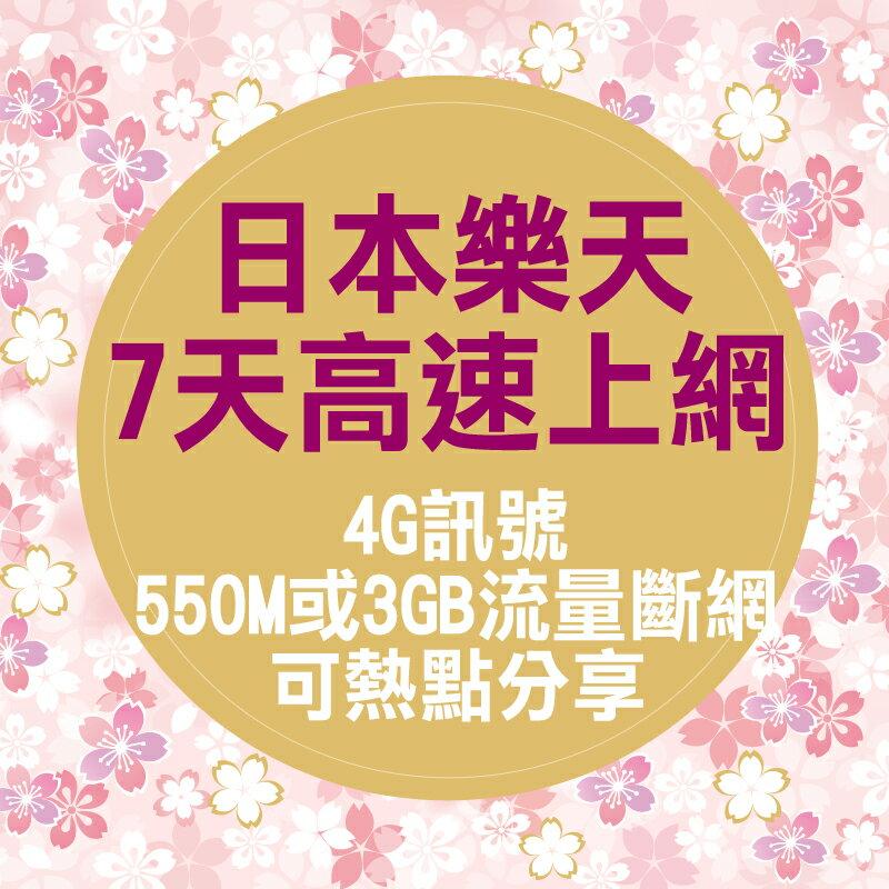 日本樂天Rakuten上網卡 /7天日本高速上網/上網日本sim卡/可點取廣告賺免費上網流量