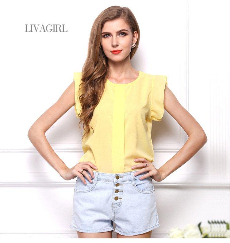 歐美新款女裝 純色短袖T恤上衣 飄飄袖薄透雪紡衫 4色 VAJ1214
