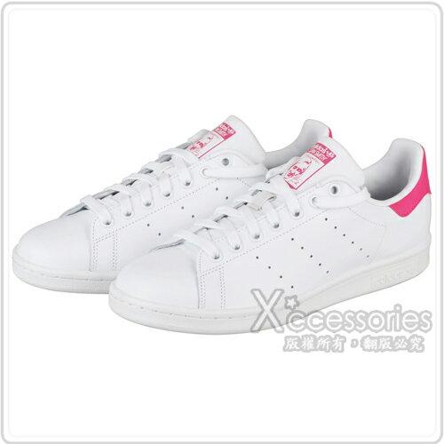 adidas stan smith系列休閒運動鞋(女/白+螢光桃紅)