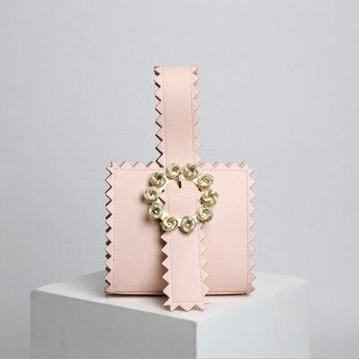 手提包真皮晚宴包-時尚金屬花朵鋸齒邊女包包4色73tn21【獨家進口】【米蘭精品】 1