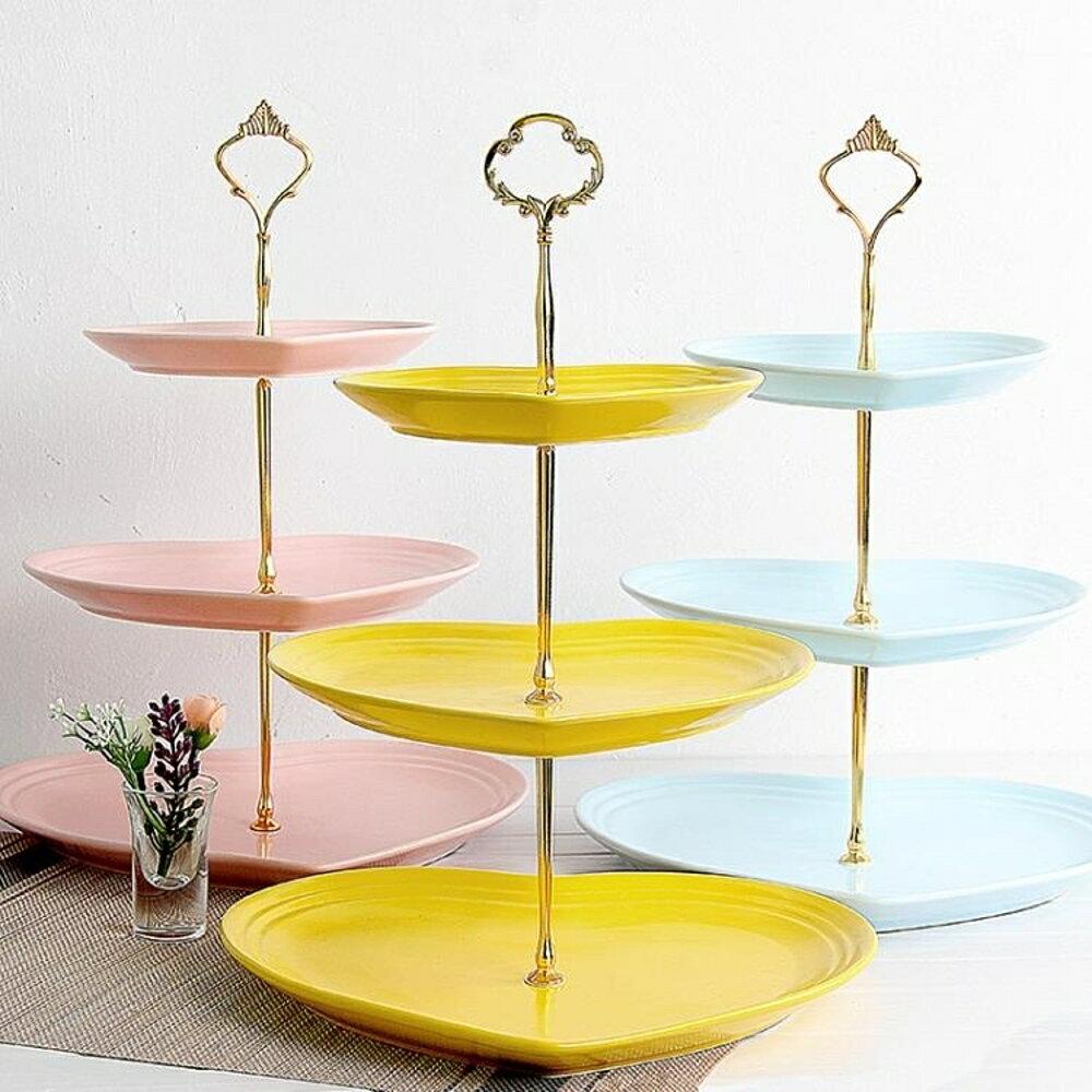 點心盤瓷江湖陶瓷水果盤客廳下午蛋糕架零食茶點心甜品糖果托盤    都市時尚