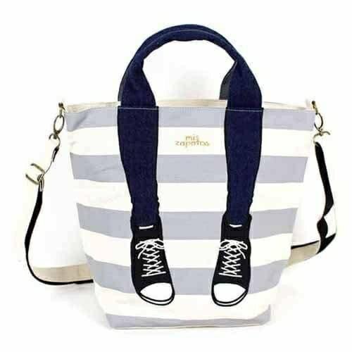 【真愛日本】日本Mis Zapatos 3way美腿包-條紋灰 高跟鞋包 日本爆紅熱銷款 預購後背包