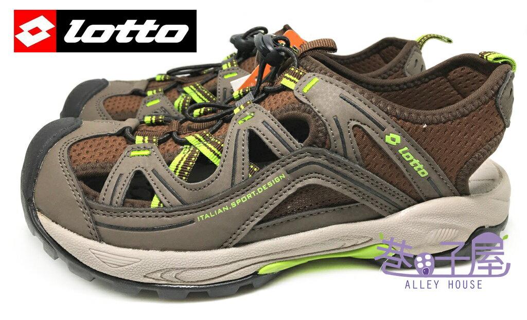 【巷子屋】義大利第一品牌-LOTTO樂得 男款排水護趾耐磨運動涼鞋 [2263] 咖啡 超值價$498