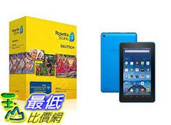 [106美國直購] Learn German: Rosetta Stone German - Level 1-5 Set with Fire Tablet with Alexa, 7  Display, 16 GB, Blue