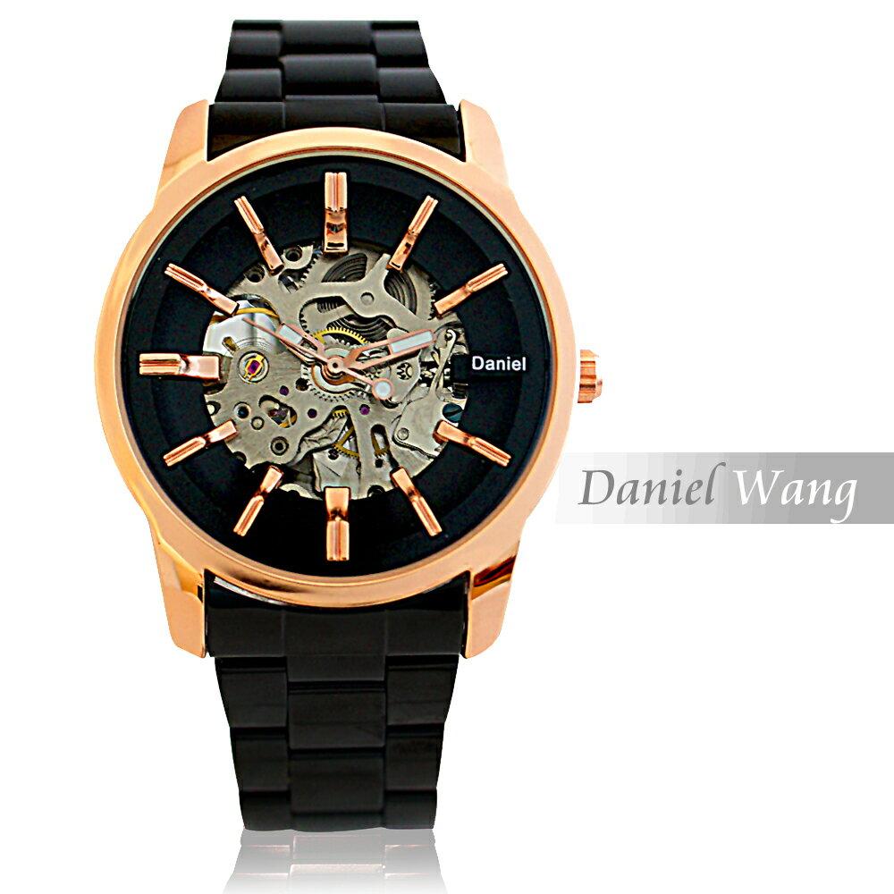 Daniel Wang DW-3142-IP 絢麗閃電雙面鏤空指針式全自動機械錶 7