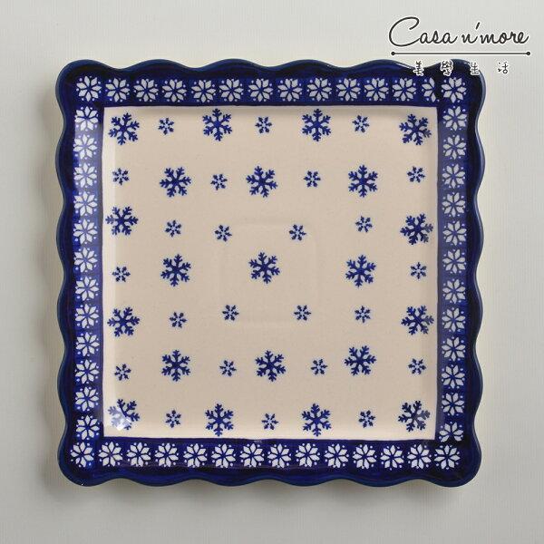 波蘭陶雪白冰花系列方形餐盤陶瓷盤菜盤水果盤沙拉盤24cm波蘭手工製