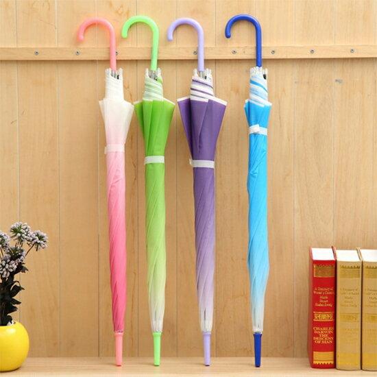 ♚MY COLOR♚漸變色環保雨傘 創意 純色 POE 塑料 加厚 透明 環保傘 個性 自動 長柄傘【E94】