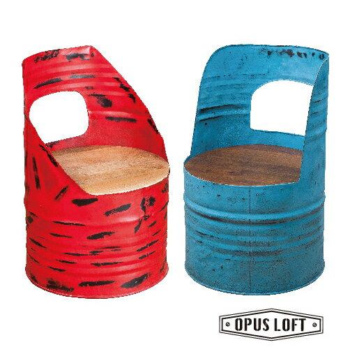 復古LOFT工業風 圓木座墊 油桶椅(紅色/藍色)