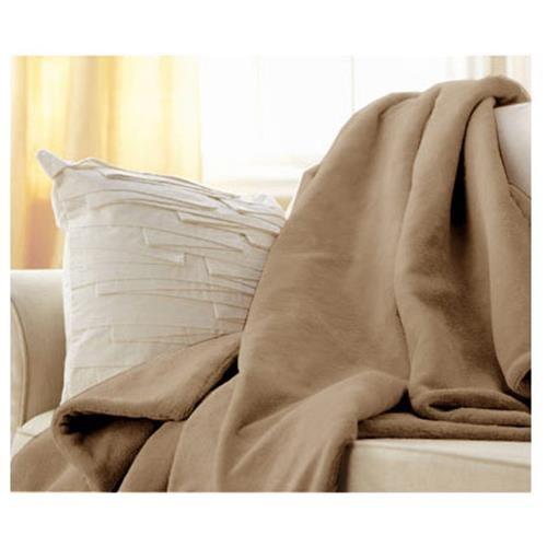 Sunbeam Microplush Electric Heated Throw Blanket in Mushroom Beige 1